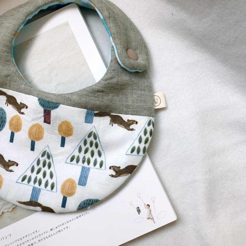 Squirrel forest eight-layer yarn handmade bibs saliva towel