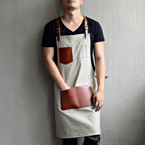 【Invisible cloak gear】 cross-strap design imported leather washed canvas aprons (red brown leather + khaki washed canvas)