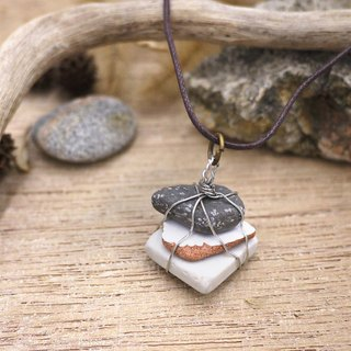 UPCYCLING Eco natural stone, sea glass, necklace- white, brown, grey