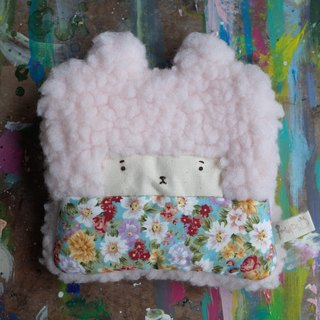 Duo rabbit rabbit coin purse - pink hair -148 blue sky small daisies