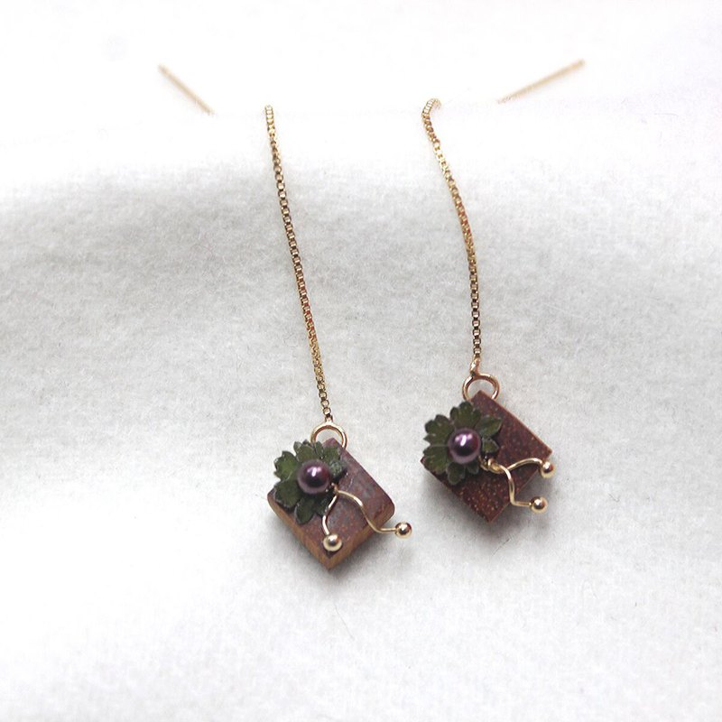 Original design Vintage dried flowers rosewood hand-polished ear line earrings