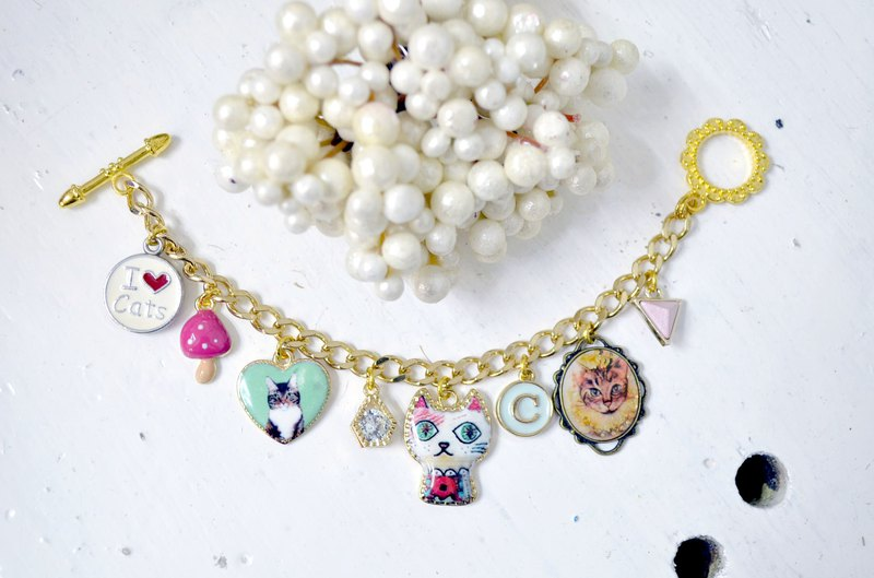 TIMBEE LO Gold Plated Bracelet Cute Soldier Alice Kitty Bird Charm
