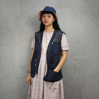 Tsubasa.Y ancient house 005 navy blue net fishing vest, fisherman mesh vest, both men and women can wear