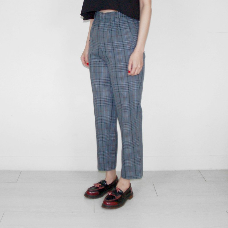 Blue Plaid Vintage Waist Trousers BJ1018