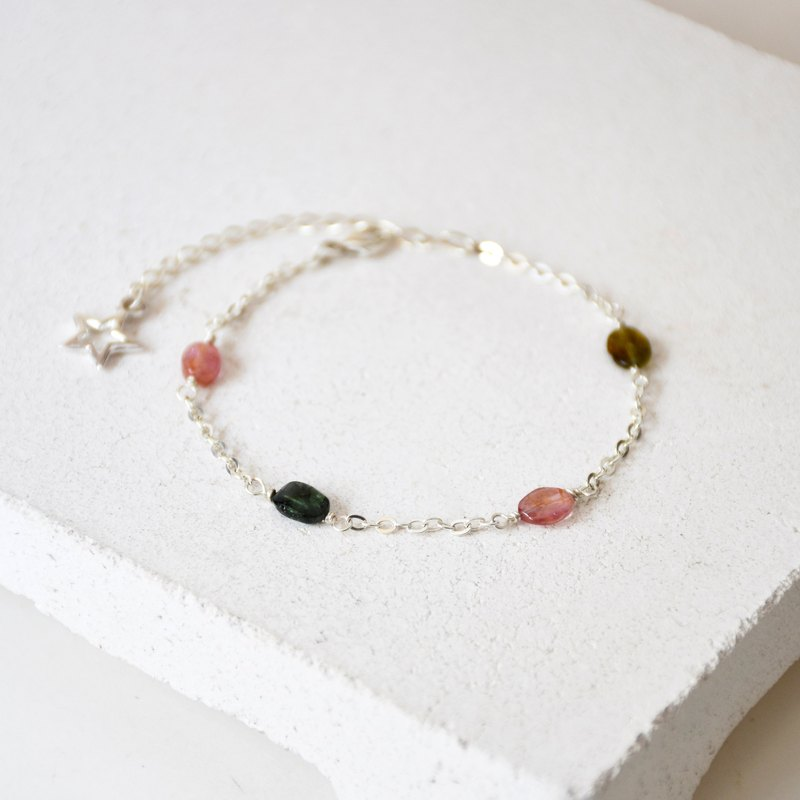 Handmade Simple colourful Tourmaline with 925 silver Bracelet