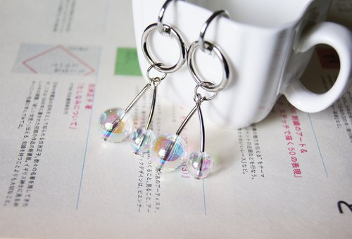mint neiff I soft glass ball two-wheeled small circle earrings wear / clip