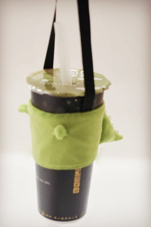 Small dinosaur dinosaur drink bag / beverage cup cover / green cup cover / bag