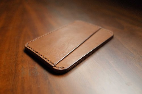 Hand-sewn leather portable pocket clip - brown