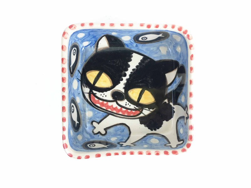 Nice Little Clay Generous Bowl Happy Cat Blue 02012-01