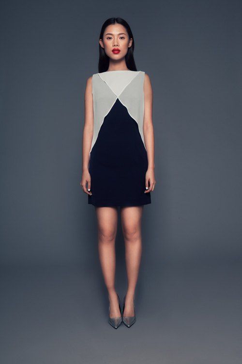 Susie Sleeveless Dress in Navy/Off-White