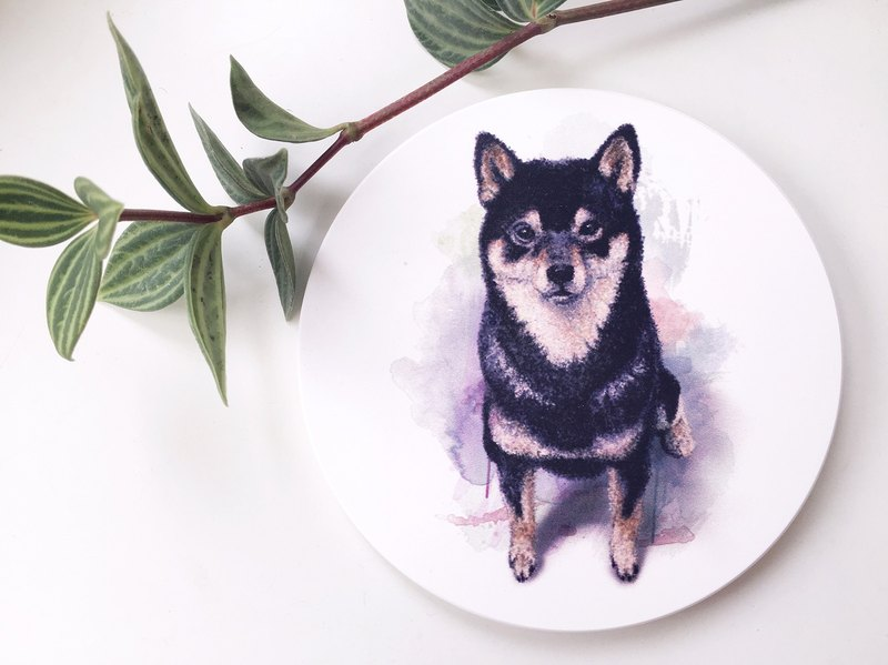 Animal illustration ceramic water coaster 【Black Shiba Inu】