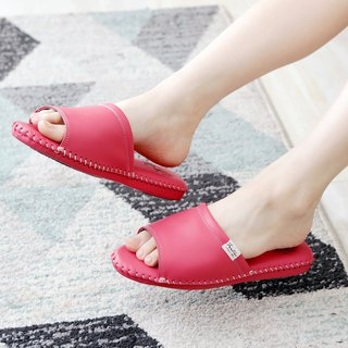 Leather indoor non-slip slippers (splendid forest) berry red