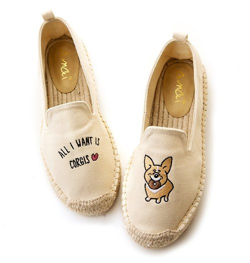 Mr. Butter cream Mr. X amai exclusive joint I love Corgi embroidery hemp shoes corgi limited