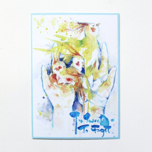 - Alice Hobbey - Too Sweet To Forget Birds Series Double-sided watercolor illustration postcard