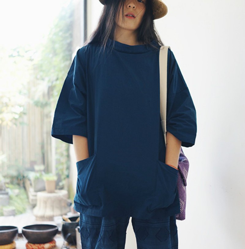Deep Valley Blue Fisherman Smock Fisherman's Tunic Cropped Sleeve Summer Stout Short Sleeve Loose T-Shirt