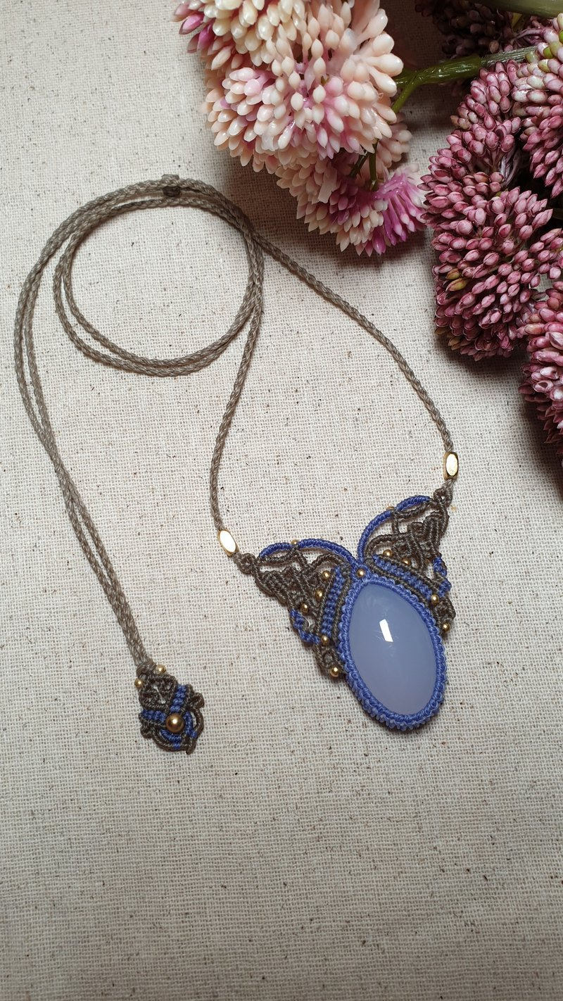 Blue Chalcedony macrame Necklace, Handcrafted Jewelry