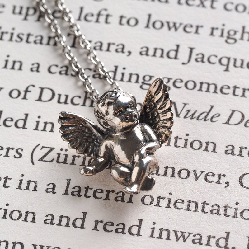 925 sterling silver decorated small angel necklace cupid single price