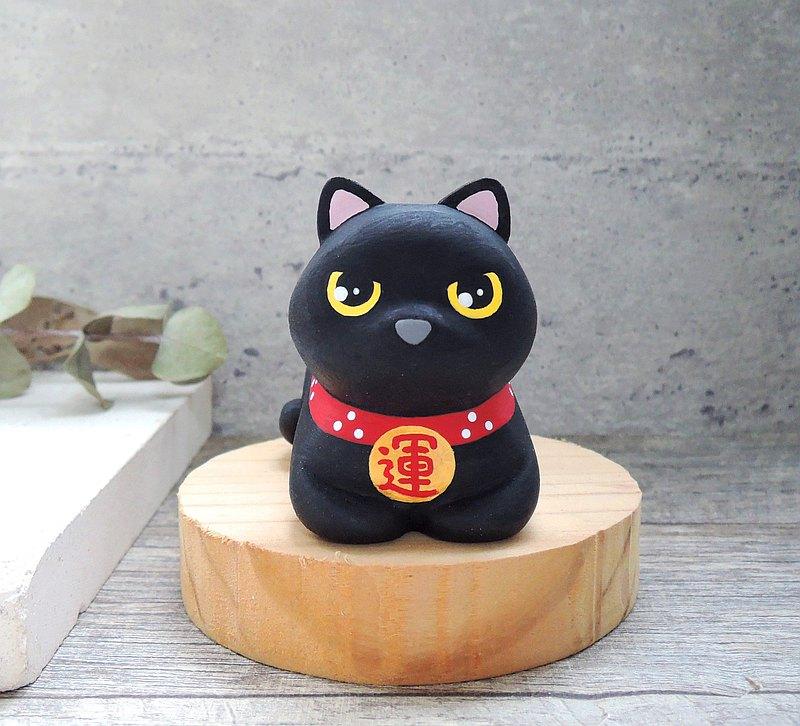 招好運小黑貓擺飾 手工木製療癒小木雕公仔 客製化 貓咪