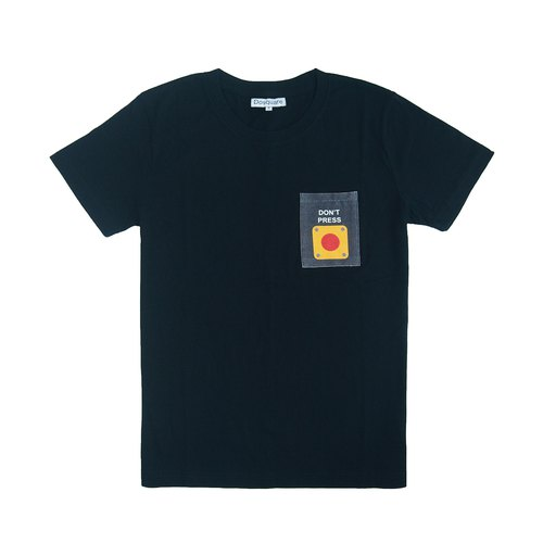 Dosquare - Cotton Black T-shirt with Pocket [Don't press the button]