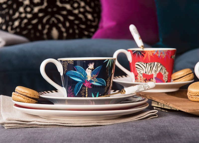 Sara Miller London for Portmeirion Tahiti Collection Cockatoo Teacup and Saucer