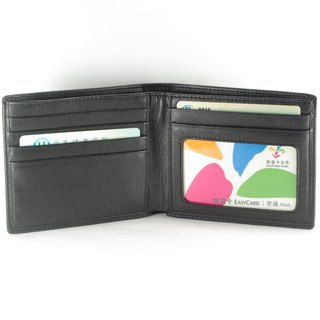 Elegant Male Short Clip Leather Wallet 5 Cards Photo Coin Bag Black Premium Custom Lettering Service