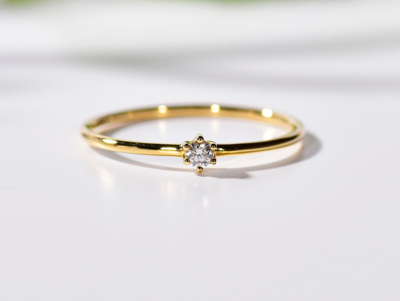 Dainty diamond ring in 14k Yellow Gold,Diamond Engagement Ring