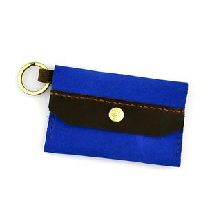 [U6.JP6 handmade leather goods] - sapphire blue hand-made leather sewing pure hand-stitched. Purse / card folder / universal package (for men and women)
