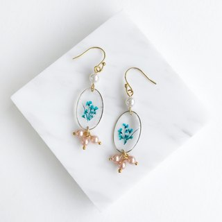 Real flower Blue flower 18KGP earrings with Swarovski Pearl