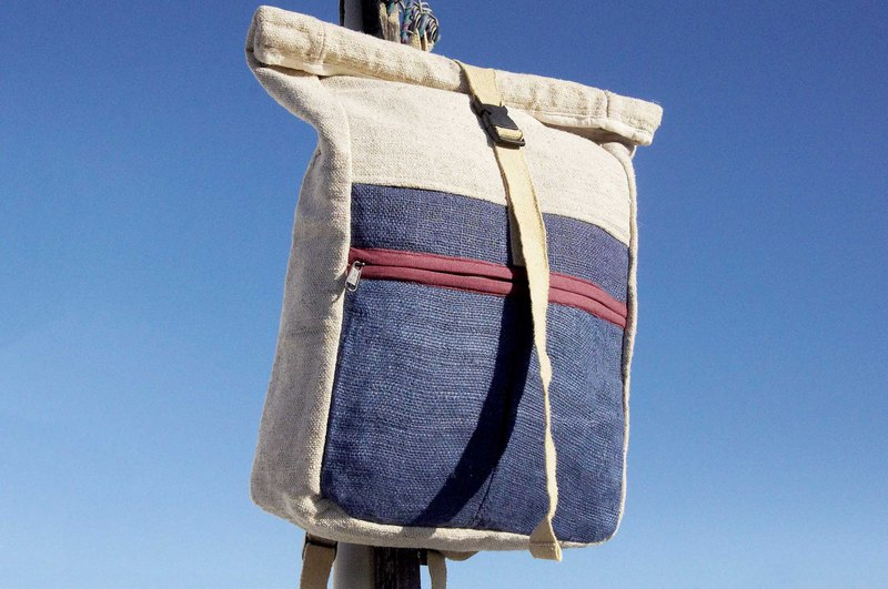 Valentine's Day gift birthday gift Mother's Day gift limited handmade natural dye cotton backpack / shoulder bag / mountaineering bag / travel backpack / computer bag / hand bag - plant dyed blue sky roll cover backpack (large)