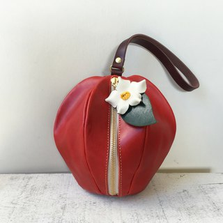 Tochigi leather mini pouch pomme red with flowers