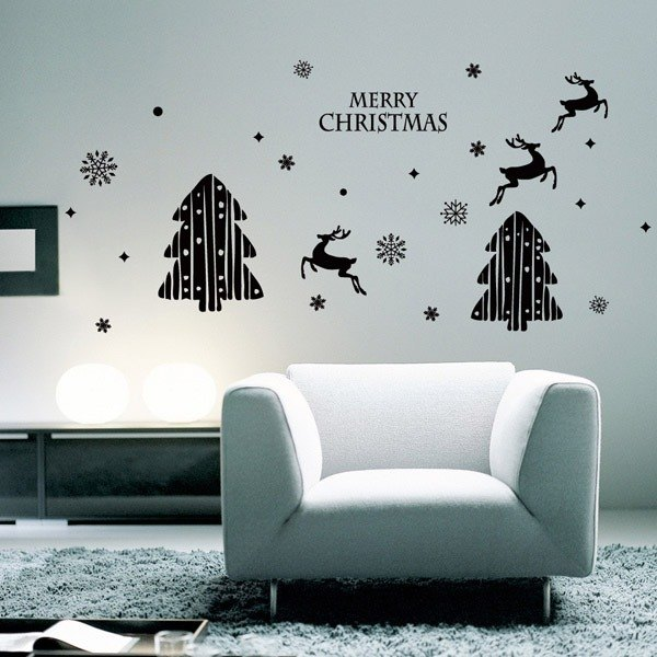 Smart Design Creative Christmas tree with no trace of wall stickers ◆ elk 8 colors)