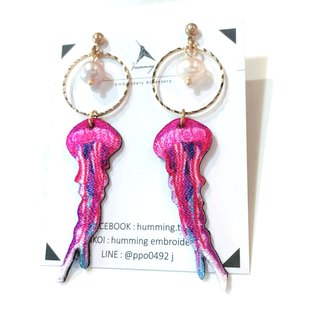 Humming|Embroidery Earrings - Purple Red Jellyfish (Clip-changeable)