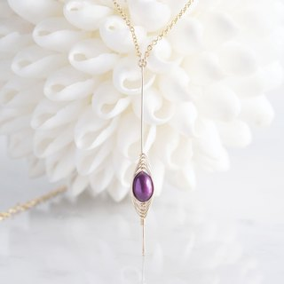 【Tsubomi】 14KGF Necklace-Purple Pearl-