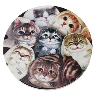 Ceramic water coaster - hundred cats