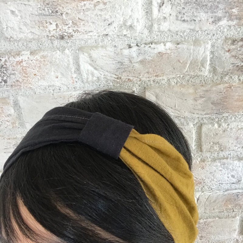 Linen hair turban: dark mustard + black