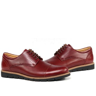 Temple filial piety horizontal carved carved punch derby shoes dark red