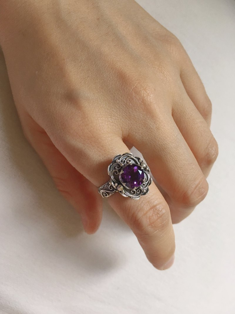 Amethyst Ring Nepal Handmade Crafts 925 Sterling Silver