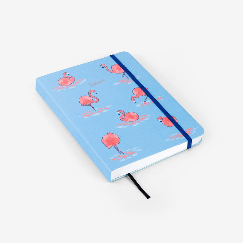 Flamingo Blue Personalized Threadbound Notebook