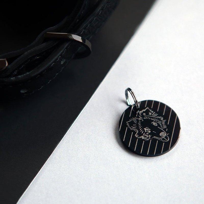 寵物標籤-不鏽鋼寵物姓名標籤,圓形,厚度M 25毫米,黑色| Mr&Mrs Sniff