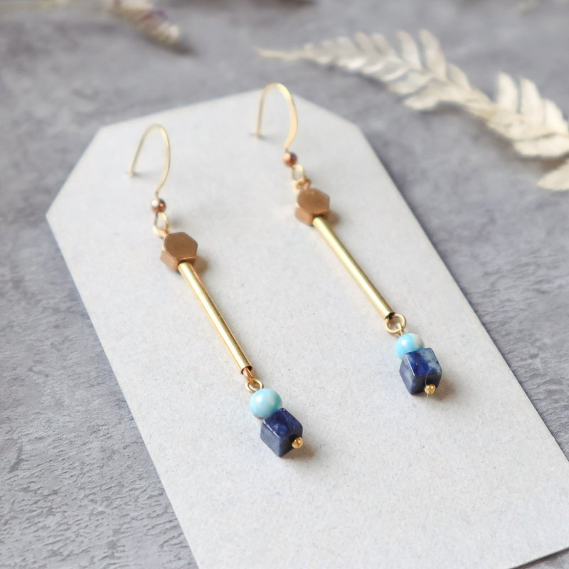 Natural stone geometric brass series earrings - parallel lines