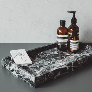 Black marble embossed tray