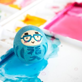 Blue Good luck daruma - Success for work and studying - Wooden roly poly doll - Cute gift.