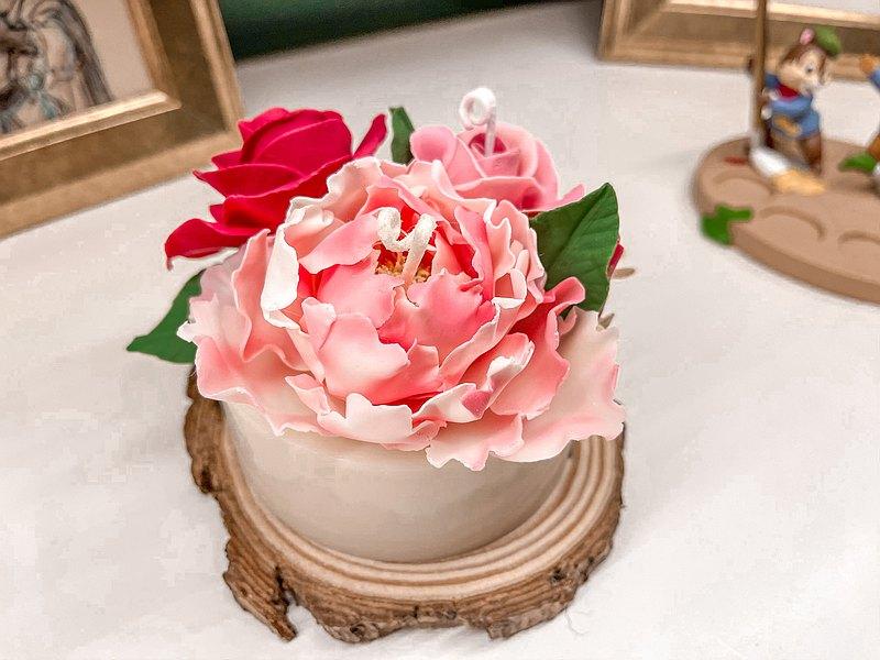 畢業禮物 暈染牡丹玫瑰蜜蠟花設計蠟燭蛋糕 精油香氛療癒舒壓