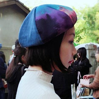 Maverick Village handmade beret men and women painter hat retro fashion [purple flame rendering] B-56