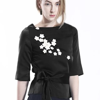 Modern Black Satin Top with White Lambskin Leather Sakura Blossom