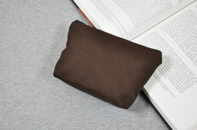 Dark brown small size cosmetic bag