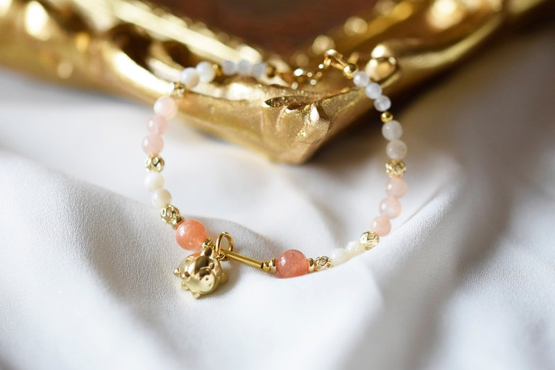 Little Gold Pig。Golden Sunstone Pearl Bead Natural Stone Bracelet