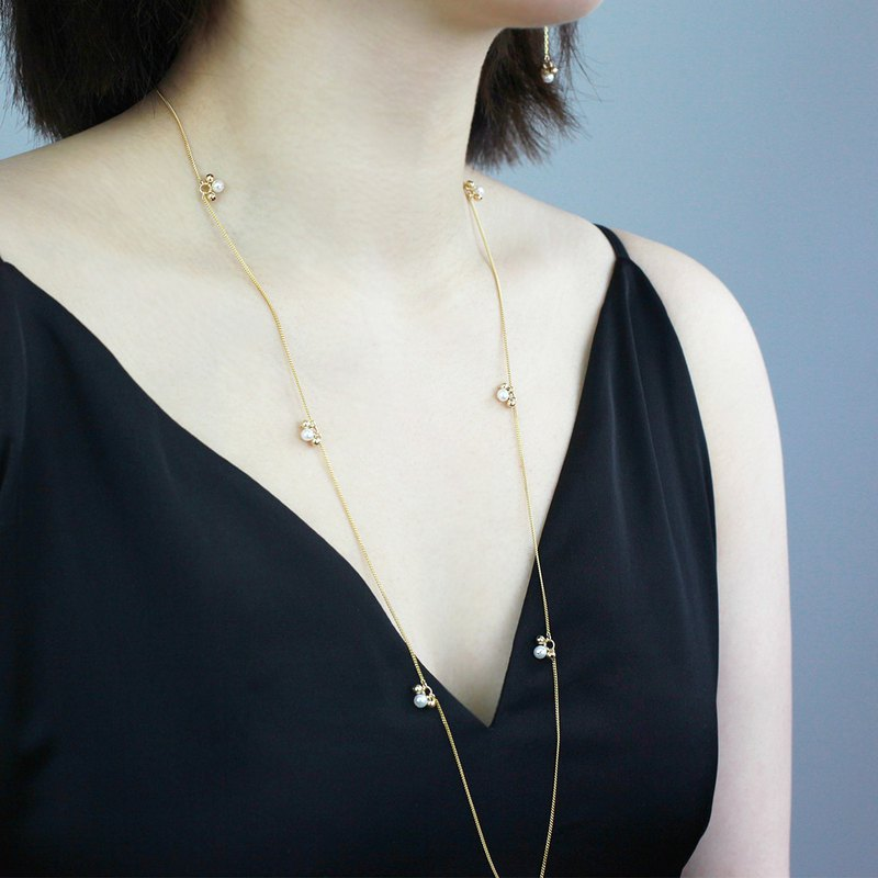 Miss Queeny Original | Cherry Cute Fresh Natural Pearl Silver Long Chain/Necklace