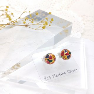 10mm Glass-painted Sterling Silver earrings - Gold line, Color
