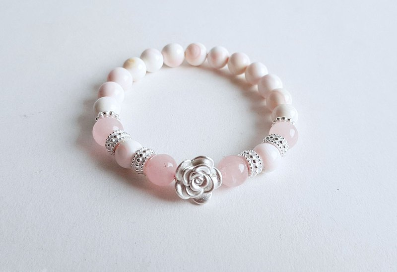 Natural Queen's Shell Pink Crystal 999 Full Silver Rose Bracelet